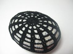Crochet Art Beach Stone Black Lace Look by mylifeinstitches, $15.00