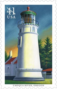 Located south of Reedsport, Oregon, Umpqua River Lighthouse was the first tower of its kind built in the Oregon Territory. The original sentinel was built in 1857 and marked the river entrance. This stamp was issued in 2007.