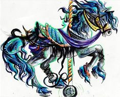 Carousel Horse by Lucky978.deviantart.com tattoo ideas, uniqu tattoo, color, hors tattoo, carousel horses, carousel horse tattoos, carousels, horse art, arttattoo inspir