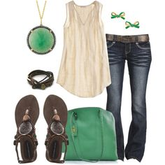 Relaxed Cream & Green - Polyvore