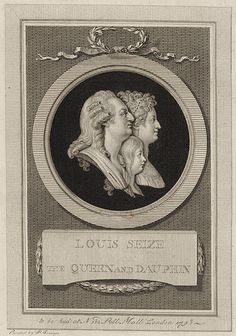 Engraved portrait of Louis XVI of France, Marie Antoinette, and Louis XVII of France