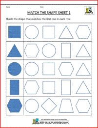 Printable Shape Worksheets Match the Shape Sheet 1 - matching simple shapes