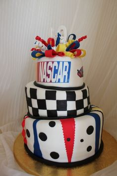 What a fun cake this would be for a NASCAR themed party!