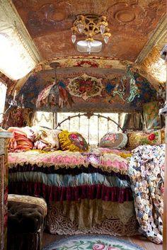 Boho Travel trailer interior.