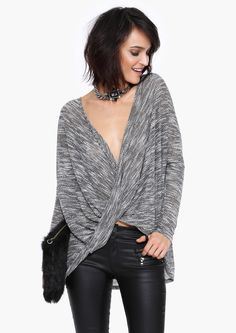 Criss Cross Sweater Top in Charcoal