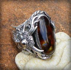 Cernunnos Favor Harvest  Fire agate Ring set in by Spicedragon