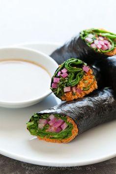 Nori Vegetable Wraps gourmandeinthekitchen.com aw vegan paleo Vegetable Nori Wraps with Sunflower Butter Dipping Sauce (Raw, Vegan, Grain Fr...