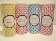 This is a personalized teacher gift. Whoopie cookies inside a repurposed Crystal light container. Cookie recipe and free printable label  is included in the blog entry.