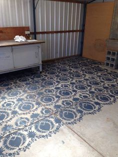 All the way from Adelaide, Australia!! For the Love Creations shares the concrete workshop floor they stenciled with our Silk Road Suzani pattern.