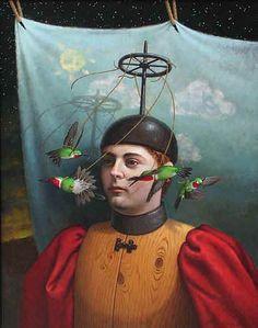 steve kenni, bird tie, surreal artist, artist bird, wheels, artist steven, art mix, paint, steven kenni