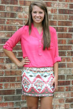 SEQUIN AZTEC SKIRT - CORAL $39.00  Sequin pencil skirt with unique detailing Shell: 95% Polyester 5% Spandex. Lining: 100% Polyester     Elastic waistband makes this an easy fit Coral, Woman Fashion, Style, Sequin Aztec, Outfit, Sequins, Aztec Skirts, Clothing Stores, Oliv Boutiqu