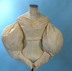 """1830 White Cotton Early Bodice Huge Gigot Sleeves Piped Seams Wonderful Example 