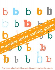 A printable alphabet sorting game for letters b, d and p