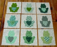 Set of 9 Scrappy Frog with Heart Quilt Blocks by MarsyesQuiltShop, $10.95 #DIY #Howto #Doityourself #love #like #awesome