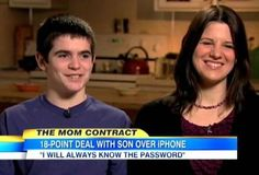 """This is the BEST IDEA EVER! Mom gives son a phone but it comes with a contract.  I am so doing this IF I ever get (or let use) my teenager a cell phone.  Brilliant mom. (Click on """"18-point iPhone contract link to view the entire contract)."""