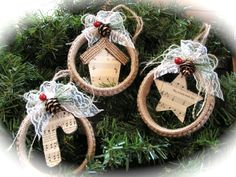 Christmas Burlap  Ornaments  set of 3. by Mydaisy2000 on Etsy