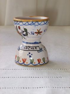 Vintage French egg cup, faïence. Henri Delcourt  Signed.  Country cottage chic. on Etsy, $17.00