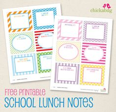 Cute! free printable school lunch notes