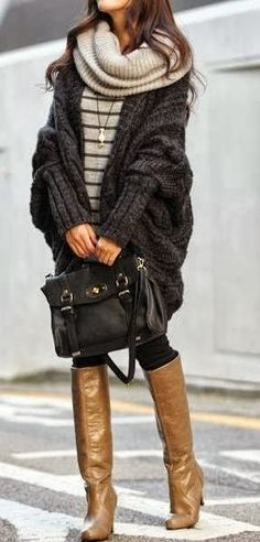 Oversized Woolen Cardigan With Leather Handbag and Long Boots