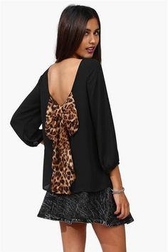 back bow leopard shirt black cute girly sexy