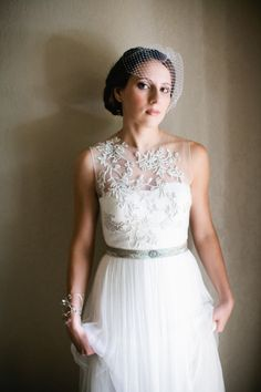 vintage inspired gown by BHLDN. we love a good illusion neckline  Photography by http://akilbennett.com