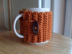crocheted coffee mug cozy tea mug cozy mug by TheLeftHandedHooker