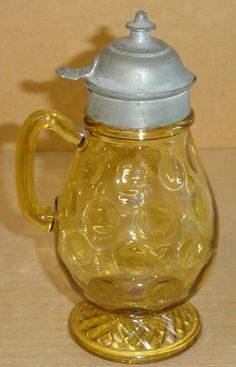 EAPG AMBER LATTICE & THUMBPRINT #796 SYRUP CENTRAL GLASS 1880 $80.00