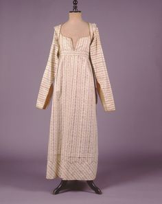 """1810 - Dress and jacket by white striped brocade with an inside cotton belt bearing the inscription: """"wedding dress of the Riv. Jones King of Mrs. A. Aspasia King, a native of Smyrna about the year 1810 written by me, her daughter Mrs. Claudia B. Lasell, Athens,Greece  http://www.texmedindigitalibrary.eu/?show_item_id=400"""