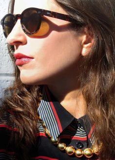 Moscot Sunglasses, J.Crew Necklace, Equipment Blouse