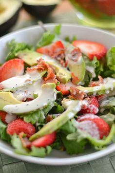 Strawberry Avocado Kale Salad, perfect lunch for a hot summer day!