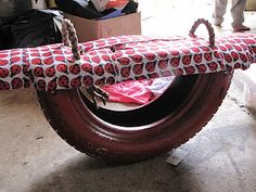 Make a see saw from an old tire