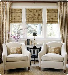Here is a no fail neutral combination: cream upholstery with exposed wood legs, woven shades, and patterned window panels. The set up is timeless and all you need to do to add a pop of color is change out the accent pillows with the seasons, add fresh flowers or a throw blanket, it works every time!