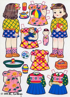 Japanese Cut Out Dressing Dolls