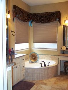 Corner window treatments on pinterest corner window curtains arched