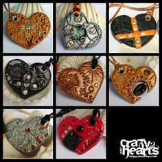 polym jewelri, polym heart, crazi heart, clay fun, clay refer