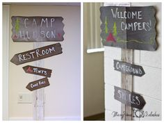 Camping Themed Birthday Party. Signs.