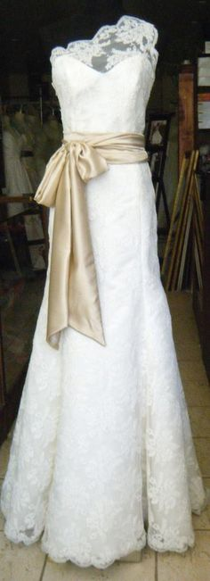 Preasley Assymetric Shoulder Ivory lace Wedding Gown by icoutureicouture on Etsy.