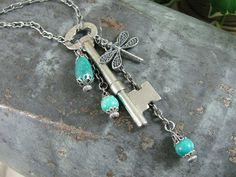 Authentic Upcycled Skeleton Key Long Length Necklace by thekeyofa, $40.00