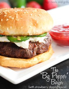 Jalapeños and cream cheese atop a nice juicy burger with strawberry dipping sauce. #dinner #recipe #beef http://www.highheelsandgrills.com/2014/05/the-big-popper-burger-with-strawberry.html