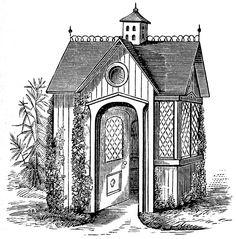 Vintage Clip Art - Victorian Garden House - The Graphics Fairy