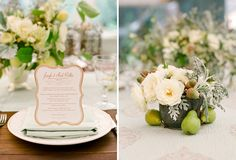 love the idea of pears on the table to add decoration