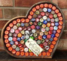 Upcycled - Bottle Cap Magnetic Message Board - Tray - Funky Industiral Boho Farmhouse Chic.