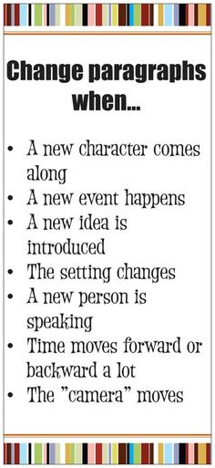 Ideas for teaching when to start a new paragraph - this pin goes to a product but I pinned it as an example of ideas to add to an anchor chart on this topic