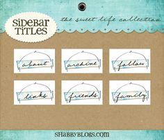 Side Bar Tag Sets   Shabby Blogs