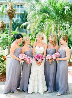 Gorgeous greys | Destination Marco Island Wedding from Justin DeMutiis Photography  Read more - http://www.stylemepretty.com/florida-weddings/2013/08/22/destination-marco-island-wedding-from-justin-demutiis-photography/