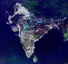 This is India taken on a NASA satellite, on the first day of Diwali, the Hindu Festival of Light. Gorgeous.