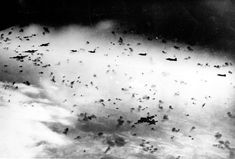 """B-17s in """"Flak so thick you could almost taxi around on it."""""""
