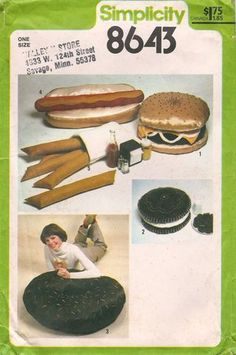 Simplicity pattern for giant food! Love the 70's