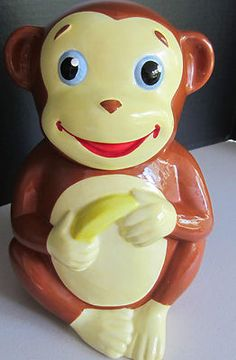 Monkey Cookie Jar - Mostly Monkey Cookie Jar Cute Monkey Banana  Awesome COOKIE JAR - Cute MONKEY Please Repinit and Have a GREAT WEEKEND!!