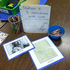 Station 4: I can draw with lines.  I look for opportunities to work in some free choice experiences.